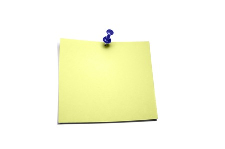 yellow pushpin: yellow sheet paper for notes pinned pushpin on a white background Stock Photo