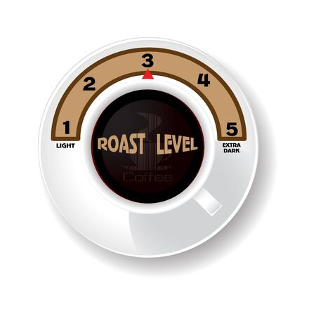 level of coffee roast level. A white cup Vector illustration.