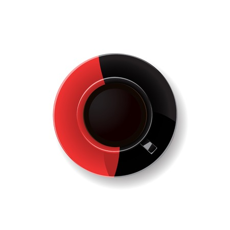 break from work: red and black coffee cup. Vector illustration.