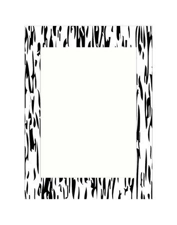 tree bark: vector black and white photo frame with tree bark