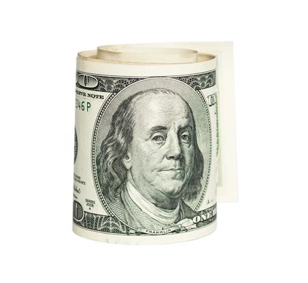 dolar: rolled one Dolar bill