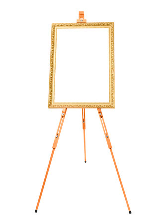 artists model: easel with golden frame on a white background