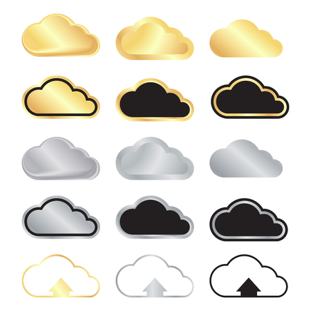 vector set of blank gold and silver clouds and black with gold and silver stroke