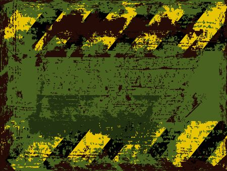 hazard stripes: vector rusty shabby background with weathered warns against black with orange stripes