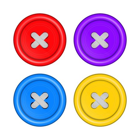 sewing buttons: sewing buttons set vector red, purple, blue, and yellow with white sewing thread