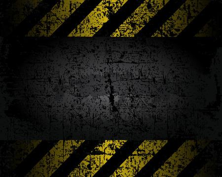 벡터 검은 색과 노란색 라인 오래 된 포장의 지저분한 배경 질감 간격 위험 경고