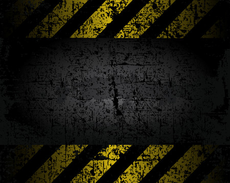 vector grungy background texture of the old pavement with black and yellow lines spaced horizontal danger warning Ilustrace