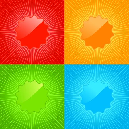 sunburst: multicolored vector set of empty labels on the background with radiating rays