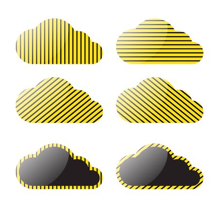 black stripes: vector clouds with a yellow black stripes