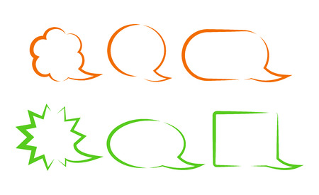 chat bubbles: orange and green vector bubbles for a chat with different forms
