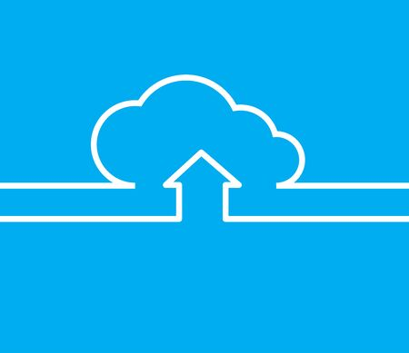 vpn: vector cloud with white lines and arrows with the same line on a blue background Illustration
