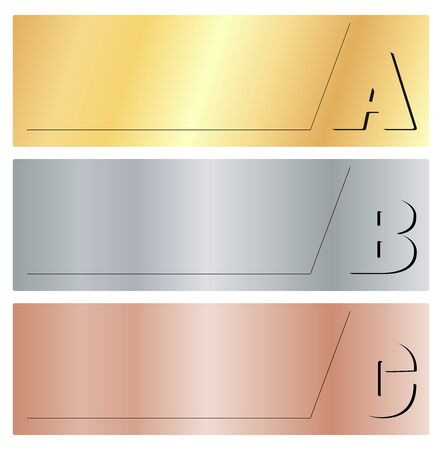 bronze background: Vector horizontal banners with the letters A, B, C, on gold, silver and bronze background