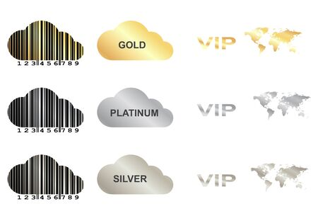 platinum: vector set with gold, silver and platinum clouds with a barcode