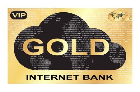 banco mundial: vector de tarjeta de pl�stico de oro con una imagen de los bancos de Internet nubes negras sobre un fondo de oro y de mundo con c�digo de barras