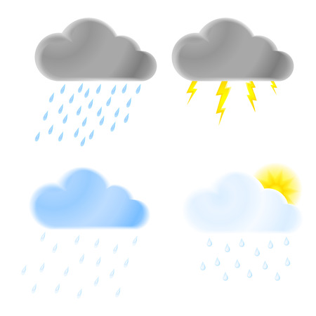 heavy rain: set of vector icons of thunder clouds with rain, heavy rain, lightning and clouds with drizzle and looks the sun Illustration