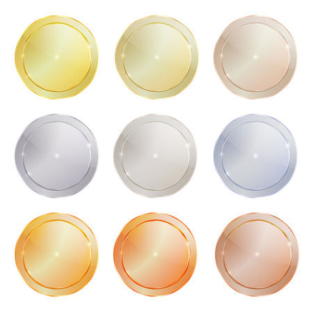vector set of polished metal circular shape made of platinum, gold, red gold, silver, bronze, copper, aluminum, which can be used in web design as the medals, coins, buttons, sewing buttons, signs Çizim