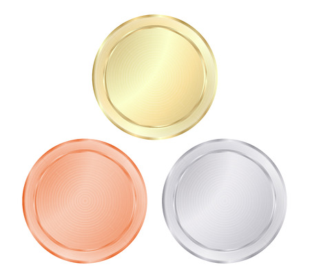 gold silver bronze: blank vector templates for coin, price tags, buttons, sewing, buttons, badges or medals of gold, silver, bronze with concentric circles on the shiny metal texture
