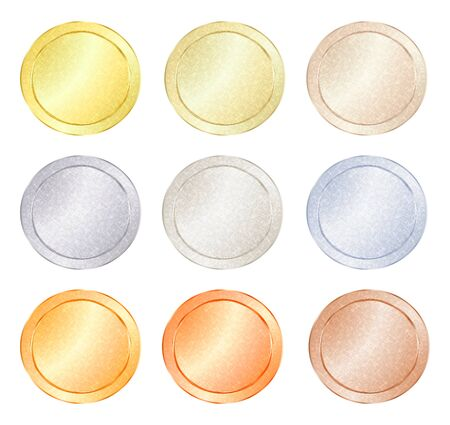 platinum metal: set of blank vector templates for coin, price tags, buttons, sewing, buttons, badges or medals with gold in different types: white, red, pink, silver, platinum shiny metal texture