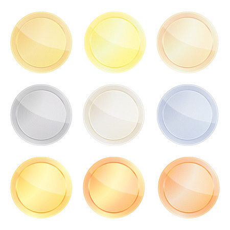 sewing buttons: vector set of blank templates centric circles for coin, price tags, buttons, sewing, buttons, badges or medals with gold in different types: white, red, pink, silver, platinum shiny metal texture
