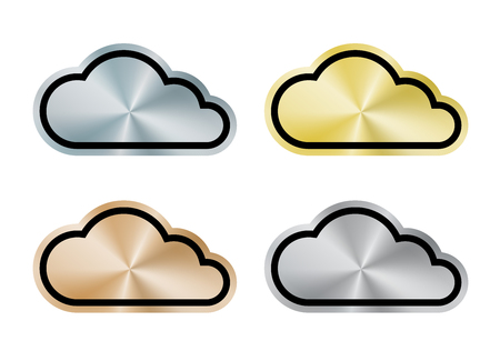 プラチナ、ゴールド、シルバー、ブロンズの中心円のインターネットの雲をベクトルします。