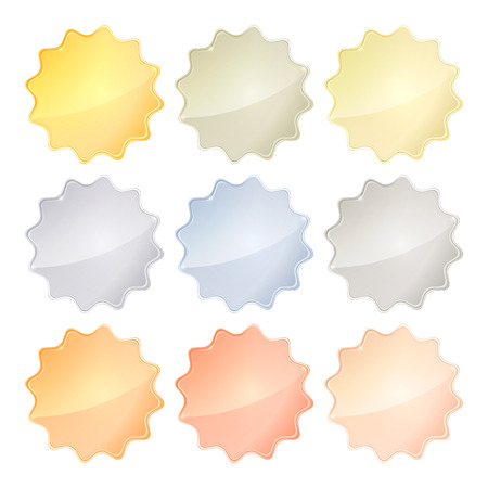platinum: Vector set of blank glossy templates of different metals gold, red gold, white gold, platinum, silver, bronze, copper, aluminum for icons, labels, signs and symbols