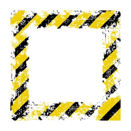 dangers: Vector square frame with black shabby old yellow lines warning of the dangers of