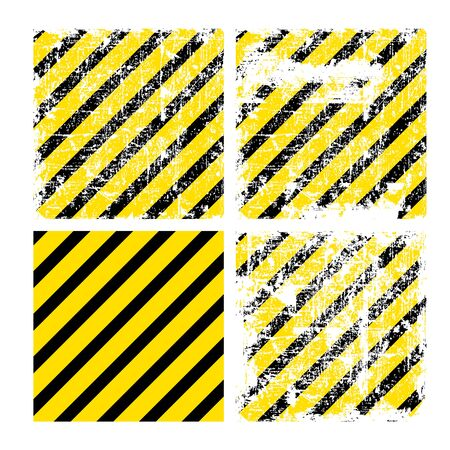 hazardous metals: Four square yellow vector backgrounds with black stripes with varying degrees of wear