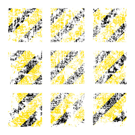 tattered: Nine vector old worn, tattered, scratch squares of yellow black stripes