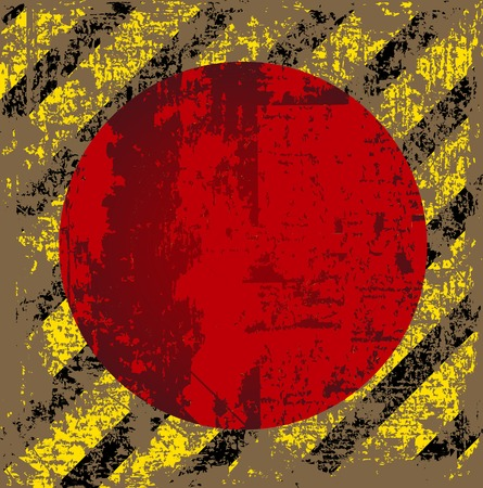 tattered: vector old worn, tattered, scratch the square of yellow black stripes with a red circle in the middlev