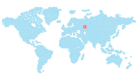 converge: Vector map of the world consisting of blue E-mail symbol arranged in circles that converge on Europe where the big red symbol