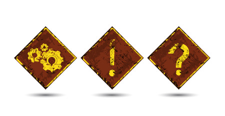 interrogative: Three vector rusty, shabby, scratched, old road signs with the image of interrogative and exclamatory signs gears Illustration
