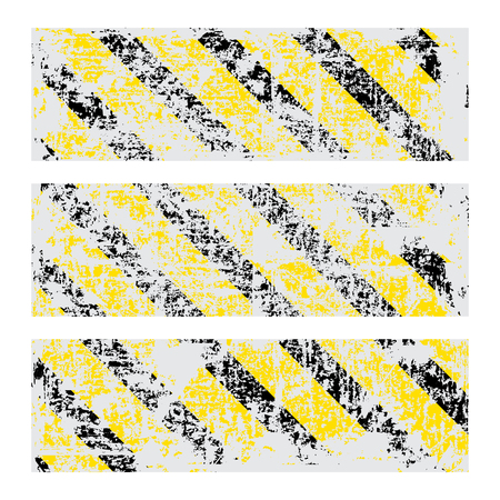 tattered: three vector old worn, tattered, scratch rectangular banners of yellow black stripes