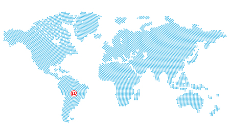 converge: Vector map of the world consisting of blue E-mail symbol arranged in circles that converge on South America where there is a large red symbol Illustration