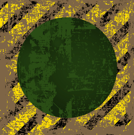 tattered: vector old worn, tattered, scratch the square of yellow black stripes with a green circle in the middle