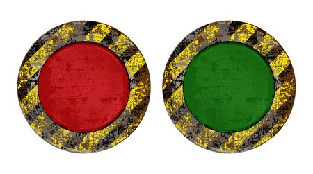 backlit: Vekton dirty old rusty red and green round button with backlit yellow scratched background with black stripes warning about the dangers of