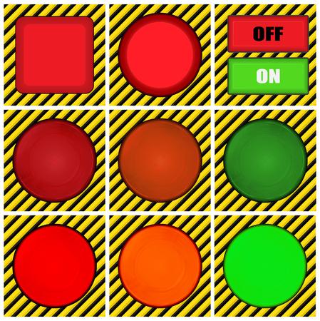 amarillo y negro: vector conjunto de botones redondos, cuadrados y rectangulares en el fondo de líneas negras y amarillo-encendido y apagado de luces de color rojo, naranja y verde