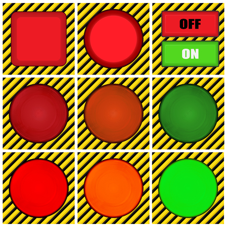 yellow and black: vector set of round, square and rectangular buttons on the background of yellow- black lines and turned on and off lights of red, orange and green colors