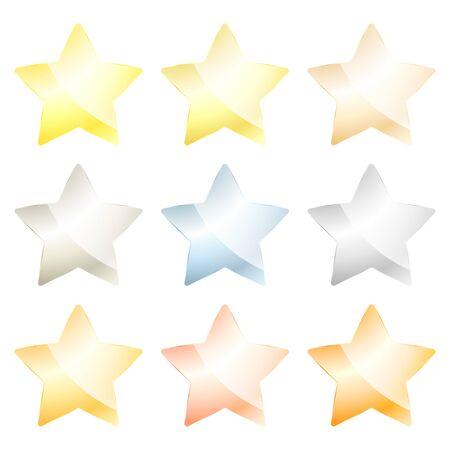 platinum: set of vector star of platinum, gold, white gold, silver, bronze, brass, aluminum