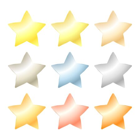 platinum: set of vector star of platinum, gold, white gold, silver, bronze, copper, brass, aluminum Illustration