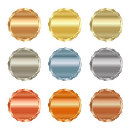 Vector Reihe von leeren Briefmarken Gold, Rotgold, Weißgold, Platin, Silber, Bronze, Kupfer, Messing, Aluminium, die als Symbole, Schaltflächen, Münzen, Medaillen verwendet werden können,