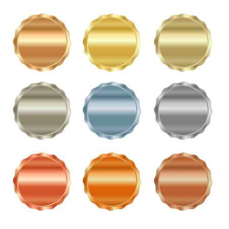 gold silver: Vector set of blank stamps of gold, red gold, white gold, platinum, silver, bronze, copper, brass, aluminum, which can be used as icons, buttons, coins, medals