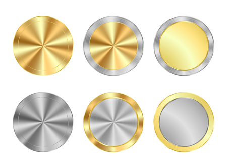 gold and silver coins: vector set of round medals of gold and silver centric circles, can be used as coins, buttons, labels Illustration
