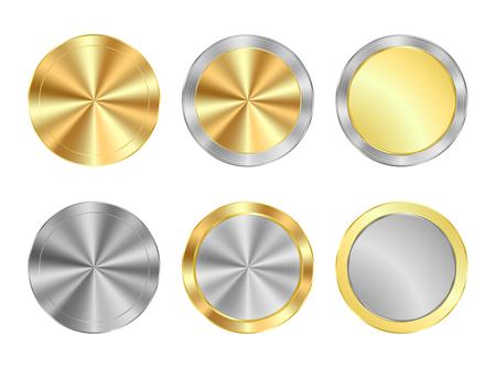 vettore serie di medaglie d'oro e rotonde cerchi concentrici d'argento, può essere utilizzato come monete, bottoni, etichette