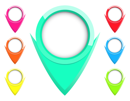 indicate: Vector set of labels to indicate on the map as a circle with an arrow of different colors