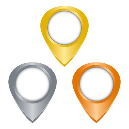 blank tag: gold, silver, bronze glossy vector blank tag on the map
