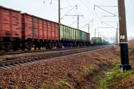 freight train: a moving freight train Stock Photo