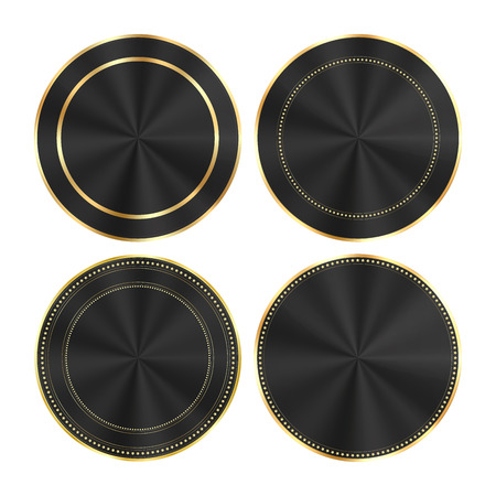 centric: vector set of colorful glossy black with gold and centric circles round medals that can be used as buttons, banners, labels Illustration