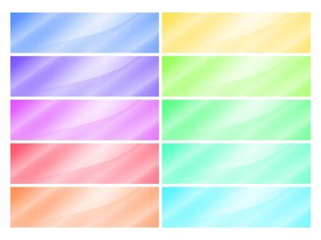 ten empty: Ten empty vector multicolored glossy rectangular banner