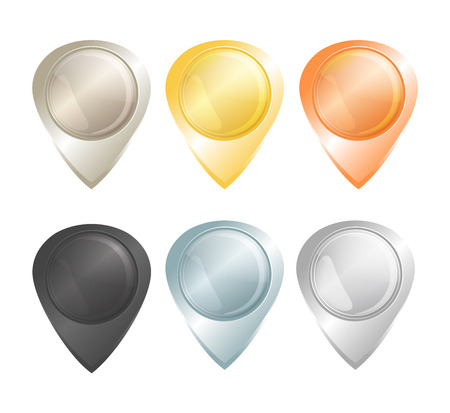 platinum: Set of vector tags on the map of gold, platinum, silver, copper, aluminum and black diamond