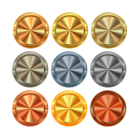 centric: vector Collection of round knobs of different kinds of metal gold silver platinum copper bronze brass aluminum with centric circles